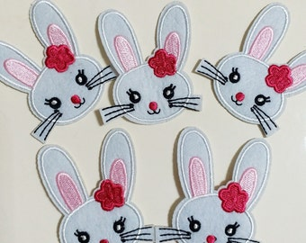 10pcs Easter Bunny Head Rabbit Iron On Sew On Cloth Embroidered Patches Appliques Machine Embroidery Needlecraft Sewing Projects