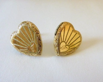 Gold filled repousse engraved heart locket conversion earrings non-pierced screw backs