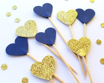 24 Navy Blue, Gold Hearts Cupcake Toppers, Gold Glitter, Bridal Shower, Wedding, Food Picks, Ships in 3-5 Working Days