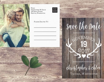 Rustic Save The Date Postcard, Rustic Postcard Save the Date, Antler Save the Date, Photograph Save the Date, Save the Date with Antlers