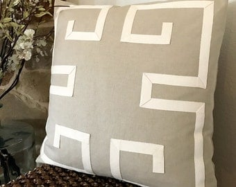 Greek Key Pillow Cover-Linen Pillows-Taupe Pillows-Natural Decorative Pillows-Geometric Pillows-Color Options Available, Zipper Closure