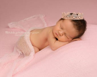 Pink baby crown, Lace crown, Newborn prop, First birthday crown, Photography prop, Cake smash crown, Princess crown, Lace photo prop, Crown