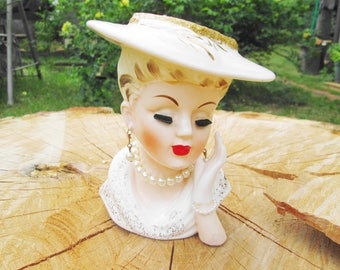 Lady Head Vase Flower Planter Vintage Porcelain Ceramic Inarco White Hat Gold Trim Blonde Lady Pearls Rhinestone Ring Collectible Home Decor