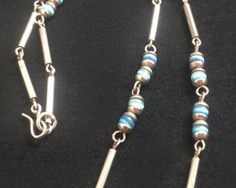 Sterling Silver and Blue Glass Bead Necklace