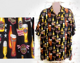 vintage 90's beer shirt - beer button up shirt - beer drinking shirt -  short sleeve shirt - men's summer shirt - size Large T , # 256