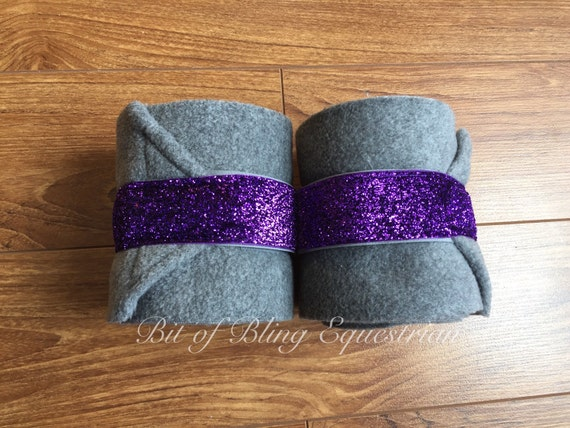 2 Heather Grey Polo Wraps with Purple Glitter Ribbon - Ready To Ship