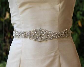 Wedding Dress Sash, Crystal Bridal Belt, Silver Bridal Sash, Crystal Beaded Wedding Belt, Ceinture de Mariée, AMOUR S