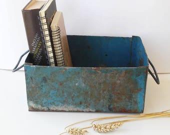 Rusty blue metal box, Vintage Industrial Metal perforated Box, Metal Basket, Home decor, Metal storage, Metal box with handles