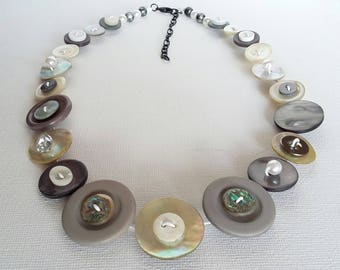 Button Necklace, Button Jewellery, Statement Necklace, Grey Necklace, Silver Necklace, Unique Necklace, Handmade Necklace, Quirky Necklace