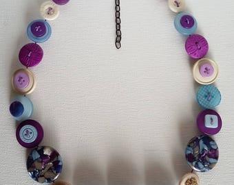 Button Necklace, Purple Necklace, Blue Necklace, Button Jewellery, Statement Necklace, Unique Necklace, Handmade Necklace, Quirky Necklace