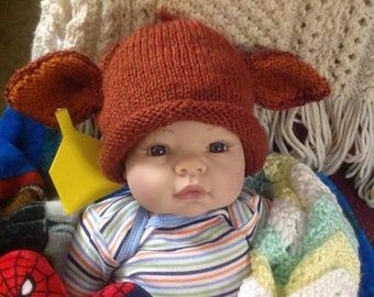Knit Newborn Red Angus Calf hat