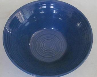 Hand Painted Blue Swirl Design Serving Bowl Stonemite