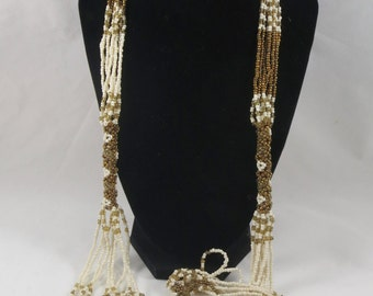 Long Flapper Style White Gold Glass Beads Multi Strand Necklace- 39 inches long