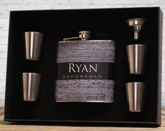 Groomsman Gifts, Personalized Fasks, Set of 8