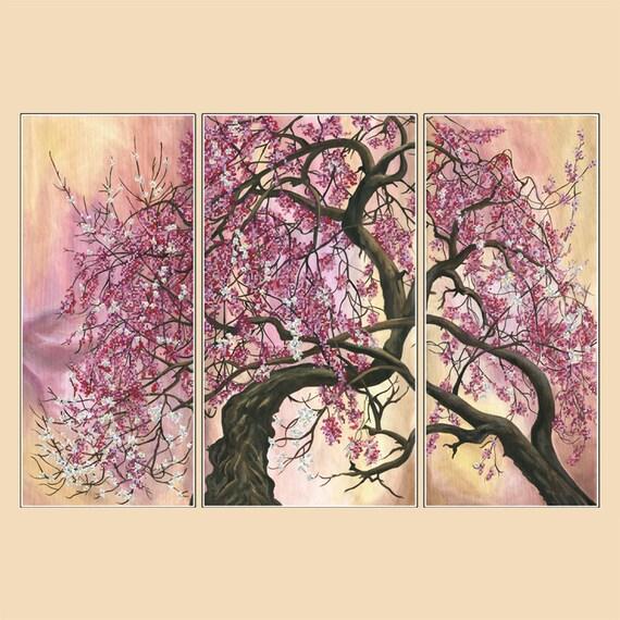 Japanese Cherry Tree bead stitching, bead embroidery, beading on needlepoint kit, DIY beadpoint craft set, Triptych
