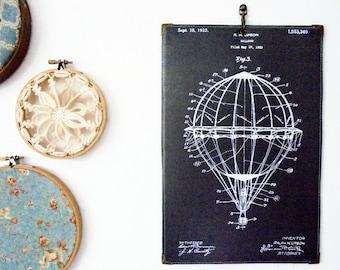 Waterproof Reversible Hanging hot air balloon diagram patent Wall Art