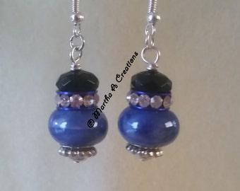 Silver Blue & Black Pierced Earrings