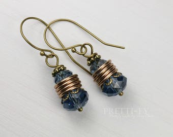 Blue Swarovski Crystal Earrings, Blue Crystal Earrings, Dangle Earrings, Blue Jewelry, Denim Blue