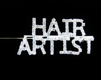 "Vintage Rhinestone ""Hair Artist"" Brooch Pin"