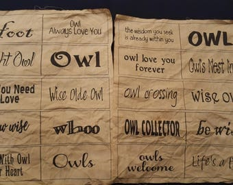 20 Owl Labels Printed on Fabric