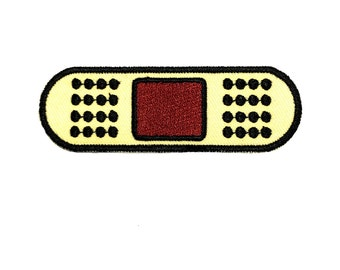 "3.6"" 80s 90s emoji KAWAII Cartoon bandaid TIN sew on IRON on patch Embroidered applique motif"
