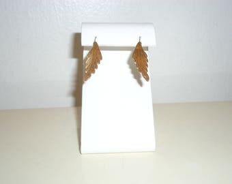 Vintage 14k Yellow Gold Estate Etched Leaf Earrings