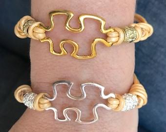 Adjustable puzzle piece leather bracelet- Metallic Gold