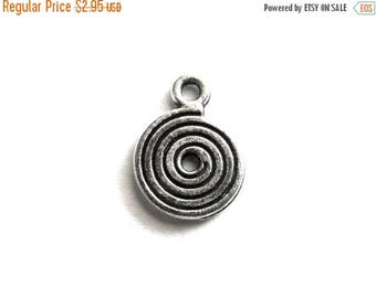 HALF PRICE 10 Silver Spiral Charms