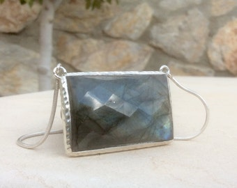 Gemstone Silver Necklace, Large Labradorite Silver Pendant Necklace, Statement Necklace, Rectangle Necklace,  Labradorite Pendant Necklace