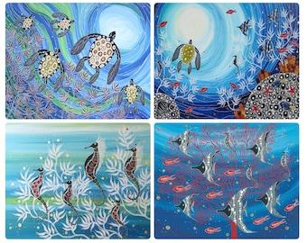 4 Coasters - Australian Made - Aboriginal Great Barrier Reef/Ocean/Turtle/Seahorses/Fish - Waterproof
