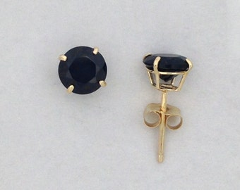 Natural Black Onyx Stud Earrings Solid 10kt Yellow Gold