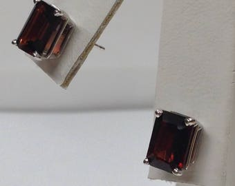 Natural Garnet Stud Earrings Solid 14kt White Gold