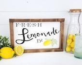 Farmhouse Decor - Lemonade - Fresh Lemonade Sign - Farmhouse Lemonade Sign - Summer Decor - Summer Signs - Farmhouse Signs