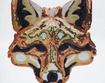 """Fox Sequin Iron-On or Sew Applique Patch by pc, 8-1/4"""" x 7-1/2"""", TR-10915"""