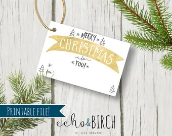 """PRINTABLE 3x2 Christmas Gift Tags - """"Merry Christmas To You!""""   Instant Download   Printable Stationery & Planner Supplies"""