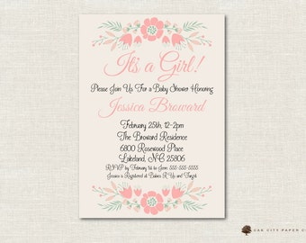 Girl Baby Shower Invitation, It's a Girl Baby Shower Invitation, Floral Baby Shower Invitation, Pink Baby Shower Invitation, Pink Flower