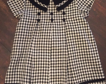 90's does 50's black and white houndstooth Bonnie Baby dress / size 24 months