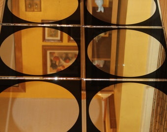 "1970 Vintage set of 6, 12""X12"" Circle mirror tile by Hoyne"