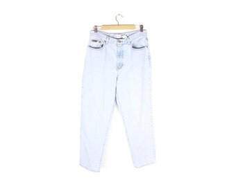 """90s CALVIN KLEIN bleached easy fit jeans - vintage - enzyme wash - womens size 12 // 32"""" waist"""