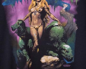 80s BORIS VALLEJO t shirt - vintage - fantasy art - screen stars best - heavy metal magazine