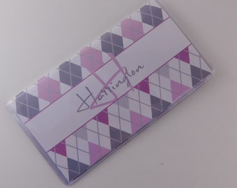 Checkbook Cover Personalized check book register money holder personalized gift purple gray 704