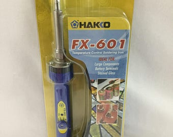 Hakko FX-601 Temperature Control Soldering Iron, Stained Glass Tool, 3/16 Tip small tip for pendants and charms CSA
