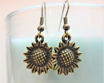 BRONZE SUNFLOWER EARRINGS - sunflower dangle earrings - see all photos