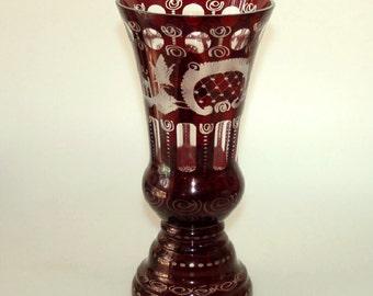 Antique Egermann Czech Ruby Red Cut Etched Glass Vase Large