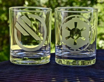 Inferno Squad TIE pilot logo etched drinking glass