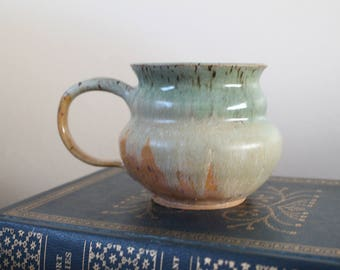 YELLOW & LIME MUG -  lime green, and butterscotch handmade pottery, great for coffee, tea, latte, espresso or anything else!