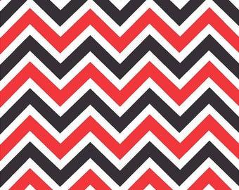 Red, black and white large chevron craft  vinyl sheet - HTV or Adhesive Vinyl -  zig zag pattern   HTV42