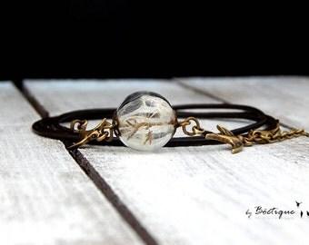 Leather Bracelet - Dandelions - Bronze / Black