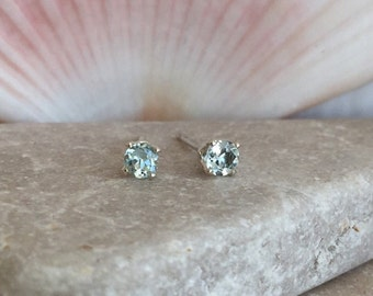 Aquamarine Stud Earrings, Natural Aquamarine Stud Earrings, Small Stud Earrings, 14k Solid Gold, Sterling Silver Stud Earrings, 3mm Studs
