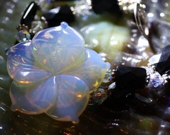 Luscious Translucent Tropical Blossom Opaline Quartz Bracelet